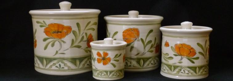 Jars, Poppies x 4