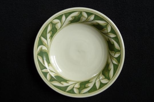 Plate, green rim